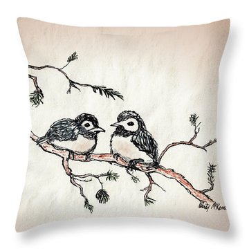 Throw Pillow featuring the drawing Two Birds by Wendy McKennon
