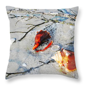 Two Conch Shells With Branch Throw Pillow by Olivia Novak