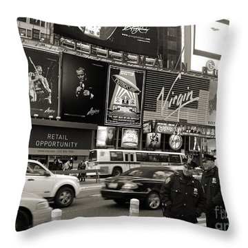 Two Cops On Broadway Throw Pillow by RicardMN Photography