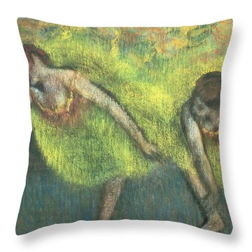 Two Dancers Relaxing Throw Pillow by Edgar Degas