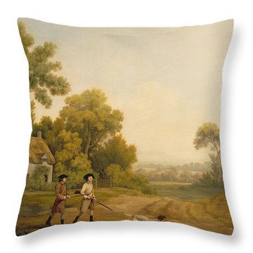 Two Gentlemen Going A Shooting Throw Pillow by George Stubbs