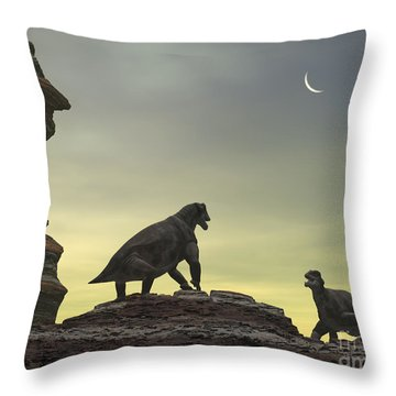 Two Giant Moschops Face Throw Pillow