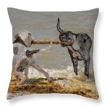 Two Good Friends Throw Pillow by David Lee Thompson