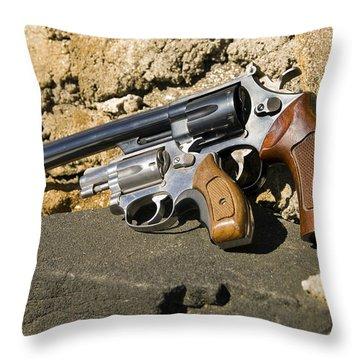 Two Hand Guns Throw Pillow by Susan Leggett