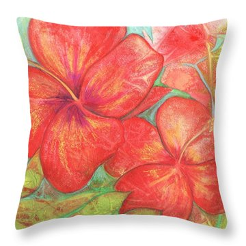 Two Hibiscus Blossoms Throw Pillow by Carla Parris