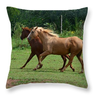 Two Horses In Unison  - 7221d Throw Pillow by Paul Lyndon Phillips