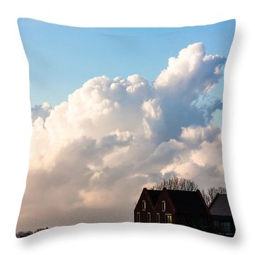Two Houses One Cloud Throw Pillow by Semmick Photo