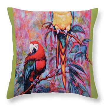 Captive Birds Of The Rain Forest Throw Pillow by Charles Munn