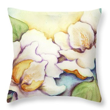 Two Magnolia Blossoms Throw Pillow by Carla Parris
