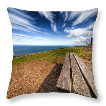 Two Men And A Dog Throw Pillow by Adrian Evans
