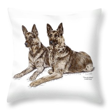 Throw Pillow featuring the drawing Two Of A Kind - German Shepherd Dogs Print Color Tinted by Kelli Swan