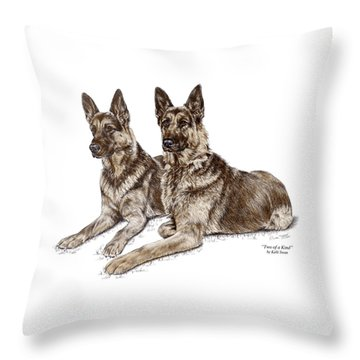 Two Of A Kind - German Shepherd Dogs Print Color Tinted Throw Pillow