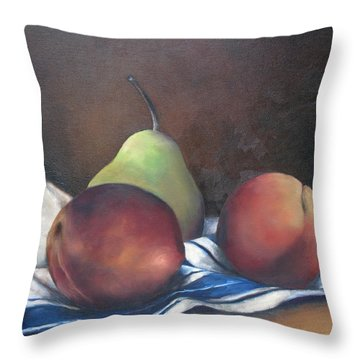 Two Peaches And A Pear Throw Pillow by Julie Dalton Gourgues