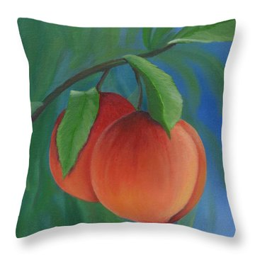 Two Peaches Throw Pillow by Mary Rogers
