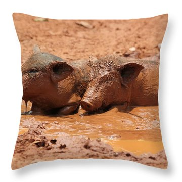 Two Pigs In A Puddle Throw Pillow by Nola Lee Kelsey