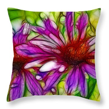 Two Purple Daisy's Fractal Throw Pillow