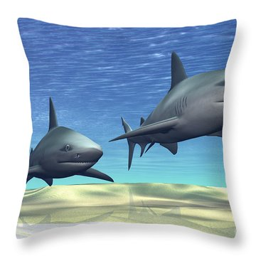 Two Sharks On Patrol Over A Sandy Reef Throw Pillow by Corey Ford