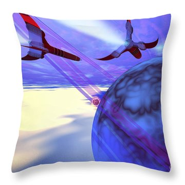 Two Spacecraft Fly Back To Their Home Throw Pillow by Corey Ford