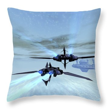 Two Spacecraft Fly Back To Their Space Throw Pillow by Corey Ford