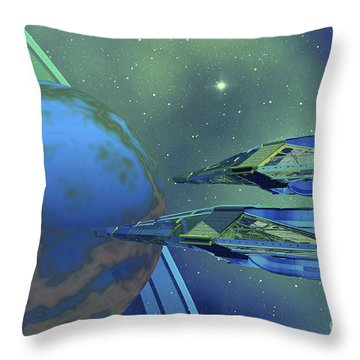Two Spacecraft Fly To Their Home Planet Throw Pillow by Corey Ford