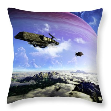 Two Spacecraft Prepare To Depart Throw Pillow by Brian Christensen