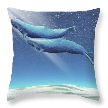 Two Sperm Whales Near The Surface Throw Pillow by Corey Ford