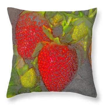 Two Strawberries Throw Pillow by David Lee Thompson