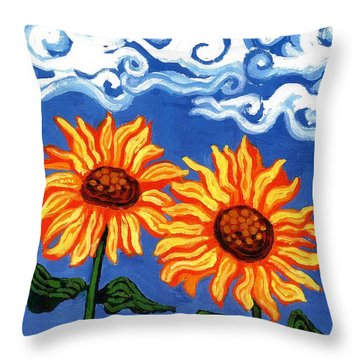 Two Sunflowers Throw Pillow by Genevieve Esson