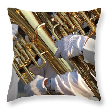 Two Tuba Players Throw Pillow by Yali Shi