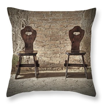 Two Wooden Chairs Throw Pillow by Joana Kruse