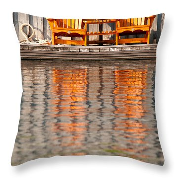 Throw Pillow featuring the photograph Two Wooden Chairs by Les Palenik