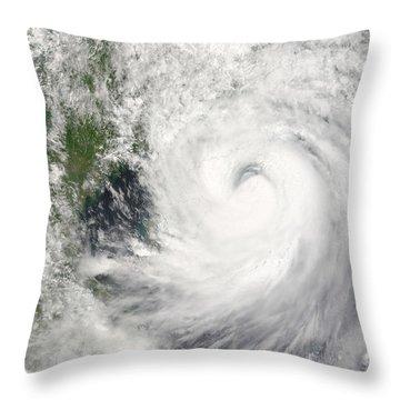 Typhoon Prapiroon Throw Pillow by Stocktrek Images