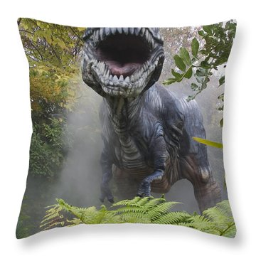 Tyrannosaurus Throw Pillow by David Davis and Photo Researchers