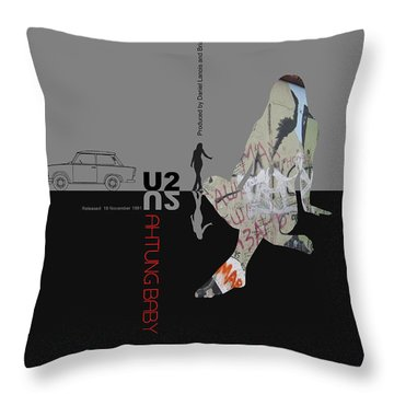 U2 Poster Throw Pillow by Naxart Studio