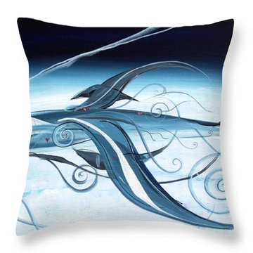 U2 Spyfish - Spy Plane As Abstract Fish - Throw Pillow by J Vincent Scarpace