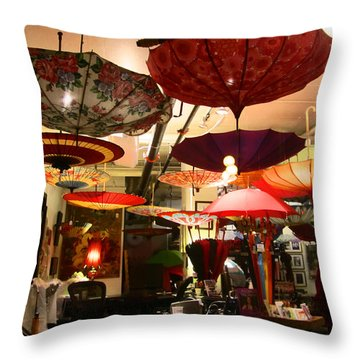 Umbrella Art Throw Pillow by Kym Backland