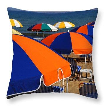 Umbrellas Of Crete Throw Pillow by Bob Christopher