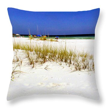 Umbrellas On The Beach Throw Pillow by Judi Bagwell