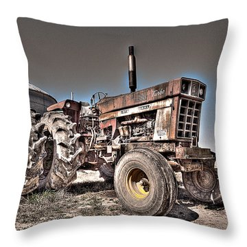 Uncle Carly's Tractor Throw Pillow by William Fields