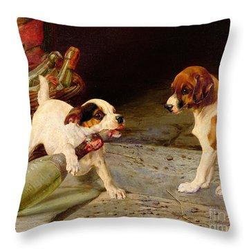 Uncorking The Bottle Throw Pillow by William Henry Hamilton Trood