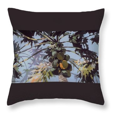 Under Papaya Tree Throw Pillow