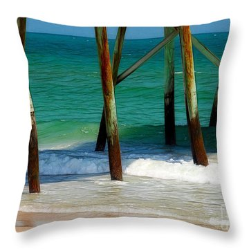 Under The Boardwalk Throw Pillow by Judi Bagwell