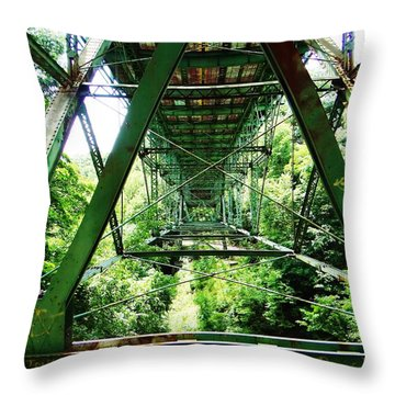 Under The Green Bridge Throw Pillow