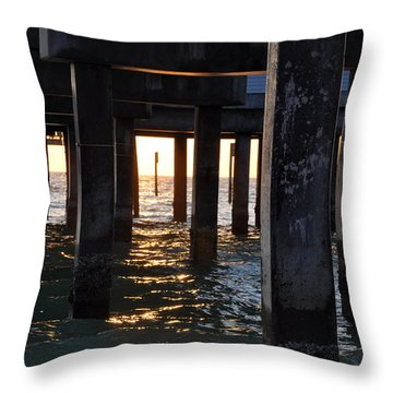 Under The Pier Throw Pillow by Bill Cannon
