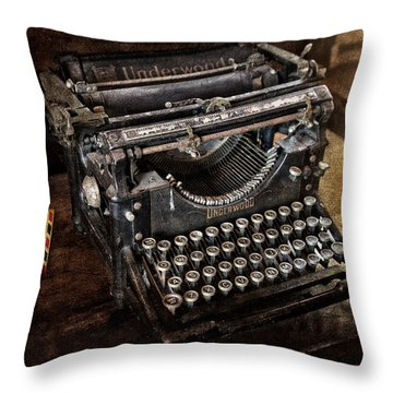 Underwood Typewriter Throw Pillow by Susan Candelario