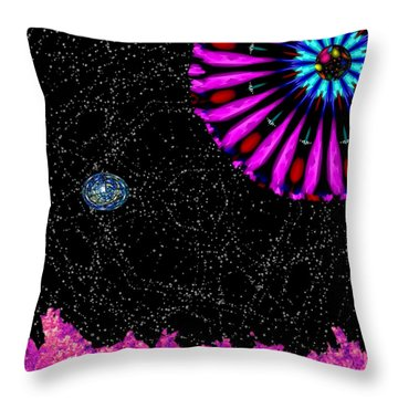 Throw Pillow featuring the digital art Unexpected Visitor by Alec Drake