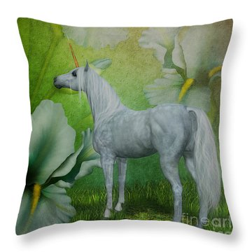 Unicorn And Lilies Throw Pillow by Smilin Eyes  Treasures