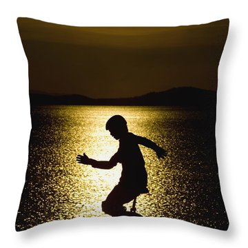 Unicycling Silhouette Throw Pillow by Deddeda