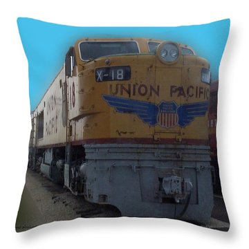 Union Pacific X 18 Train Throw Pillow by Thomas Woolworth