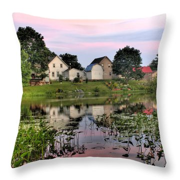 Union River Sunset  Throw Pillow by Greg DeBeck